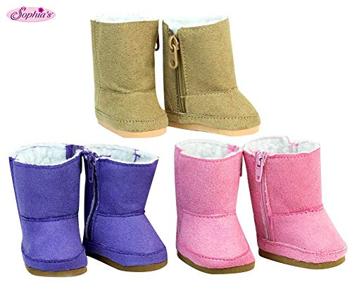 18 Inch Doll Shoe Pack Includes 3 Pairs of Boots: Tan, Pink & Purple Boots (My Life Doll Gray Boots)