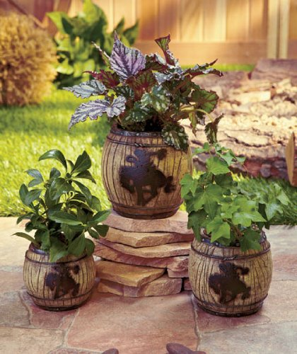 KNL Store Set Of 3 Barrel Spring Flower Pot Western Garden Patio Plant  Stand Decor Country