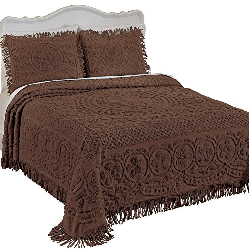 Great Features Of Collections Etc Calista Chenille Lightweight Bedspread with Fringe Border