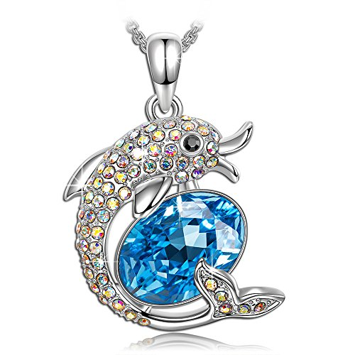 PAULINE&MORGEN Necklace Dolphin Swarovski Crystal Necklaces for Women Teen Girls Birthday Gifts for Girlfriend Daughter Dolphin Jewelry for Girls Dolphin Necklaces for her Wife Girlfriend ()