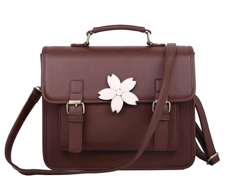 Buenocn Preppy Style Vintage backpack Pu Leather Women Shoulder Bag Cute floral Handbag messenger bag