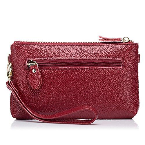 SEALINF Double Zipper Crossbody Shoulder Mini Women��s Leather Handbag Burgundy Bag Clutch rnqrCaT