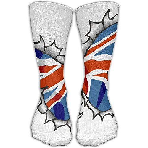 LKZD Metal-Butterfly-With-British-Flag Fashion Crew Socks Funny Casual Short Stockings One - Triathlon Athletes British