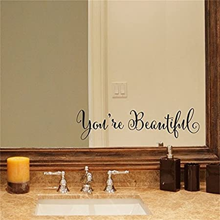 TankerStreet You're Beautiful Quote Mirror Decal Vinyl, Mirror Stickers  Wall Art Words Letters