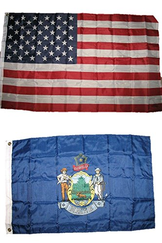 Wholesale Combo Lot 3x5 USA Flag & State of Maine 2x3 feet Super Polyester Nylon Flag (60 X 90 CM) House Banner Grommets Double Stitched Fade Resistant Premium - Nylon State Flag Maine
