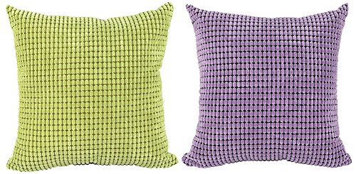 ChezMax Square Rectangle Solid Pinkycolor Printed Stuffed Cushion Corduroy Lattice Stuffing Throw Pillow Insert for Living Room Sofa Couch Chair Back Seat
