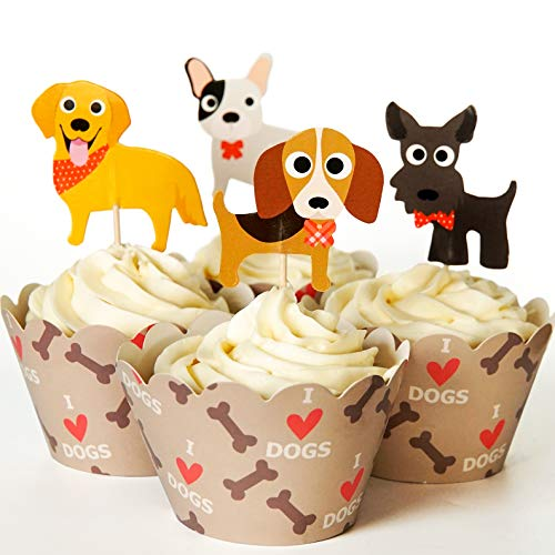24 Dog Cupcake Toppers & Wrappers - Red