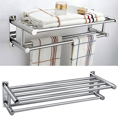 - LOVELY Modern Fashion Premium Aluminum Double Row Chrome Wall Mounted Bathroom Towel Holder Shelf Storage Rack Rall Ship from USA