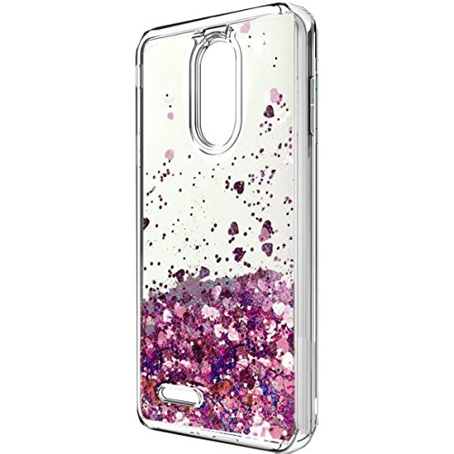 LG Aristo 2 Case, LG K8 2018 Case,LG Tribute Dynasty Case,X210 case, LV3 2018 Case, Skmy Liquid Glitter Sparkle Girl Women Cute Clear TPU+Shockproof Hard PC Protective Case for LG Aristo 2 (Rose Gold)