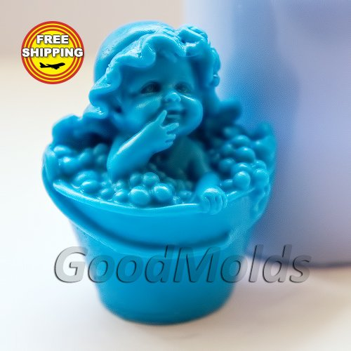 Bucket 3d Soap Mold Silicone Molds Mold for Soap Mold Angel Mold Silicone Mold Child Mold Baby Mold ()