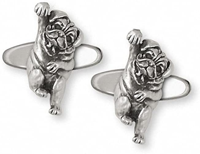 Esquivel and Fees Pug Jewelry Sterling Silver Pug Cufflinks Handmade Dog Jewelry PG28-CL