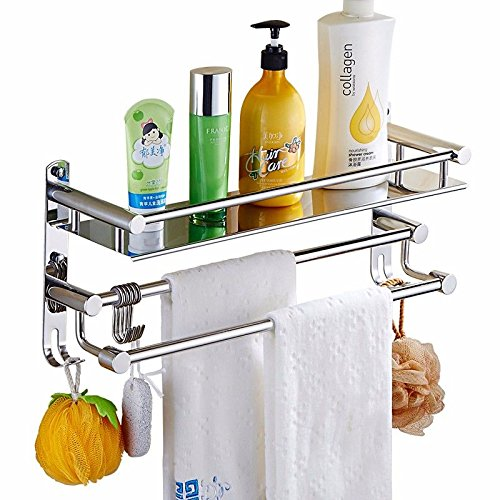 MBYW Modern Minimalist high Load-Bearing Towel Rack Bathroom Towel Rail Towel Rack 304 Stainless Steel Bathroom Rack Bathroom Free Punching Bathroom Pendant Shower Room 2 Wall Hanging ()