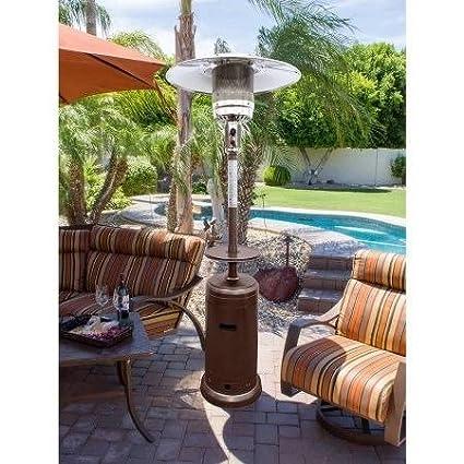 Outdoor Patio Heater,Propane,Tall,Built In Wheels,Hammered Bronze