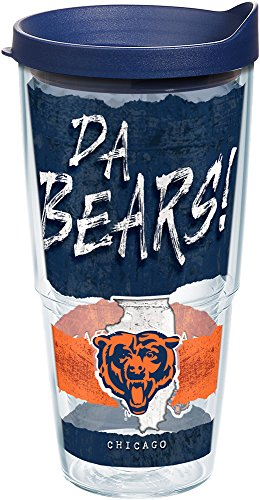 (Tervis 1227747 NFL Chicago Bears NFL Statement Tumbler with Wrap and Navy Lid 24oz, Clear)