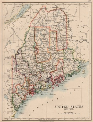 (MAINE. State map showing counties & railroads. JOHNSTON - 1906 - old map - antique map - vintage map - printed maps of)