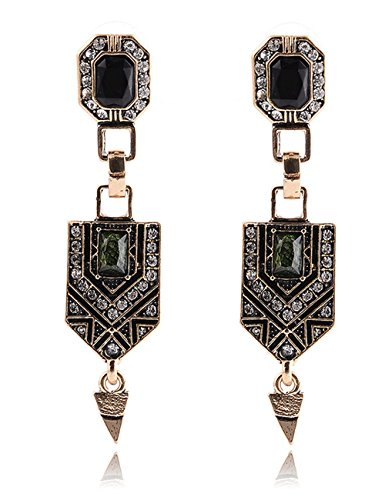 Women's Vintage Bohemian Style Geometry Shape Green Crystal Drop Dangle Earrings (Cute Homemade Ladybug Costumes)