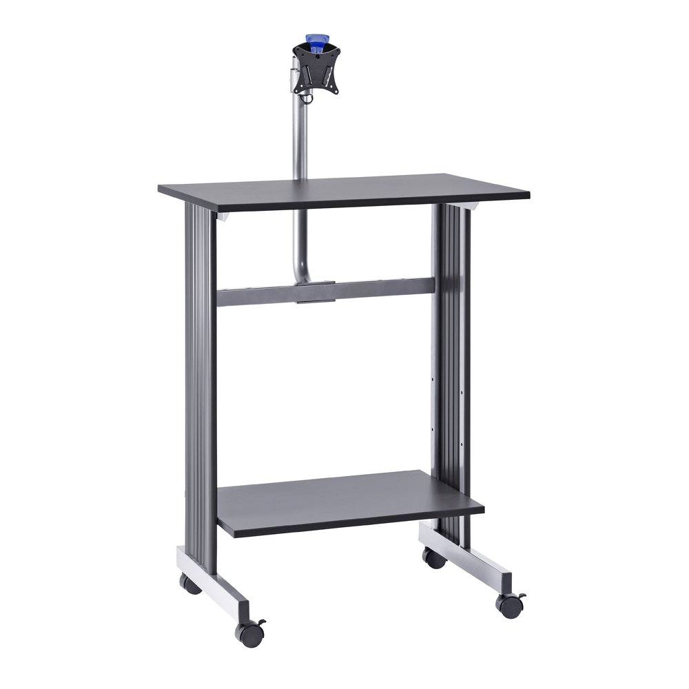 Buddy Products Stand Up Height Workstation with LCD Mount, 20 x 56 x 29 Inches, Charcoal and Silver (6464-36)