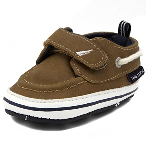 Nautica Tiny Little River Smooth, Baby Prewalker,Velcro Crib Sneakers,Soft Sole Shoes-Tan-2