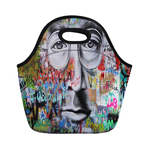 (Semtomn Neoprene Lunch Tote Bag Prague Czech Republic January 04 the Lennon Wall Since Reusable Cooler Bags Insulated Thermal Picnic Handbag for Travel,School,Outdoors,Work)