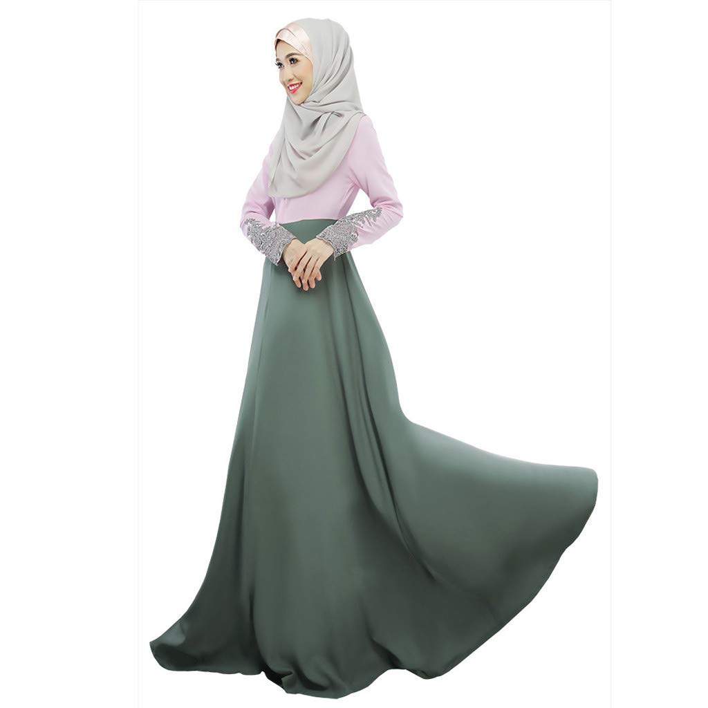 ZOMUSAR 2019 Muslim Single Layer Long Skirt Cuffs Lace Color Matching Hui Worship Service Mint Green by ZOMUSAR