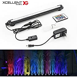 Xcellent Global Aquarium Fish Tank Light Multi Colour 18 LED RGB Air Bubble Lamps Waterproof Under water Lights Slow Flash 40 CM