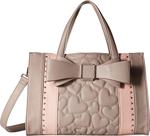 Lined Quilted Satchel - Betsey Johnson Women's Quilted Bow Satchel Grey Multi One Size