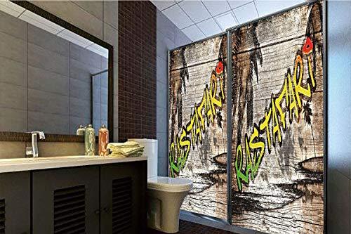 (Horrisophie dodo 3D Privacy Window Film No Glue,Rasta,Jamaican Reggae Music Icon Inspired Rastafari Street Graffiti Image Decorative,Brown Light Green and Yellow,47.24