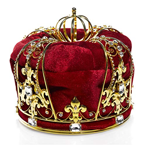 Red Crown with Gold Trim and Rhinestone Studded Accents