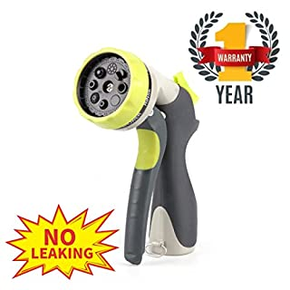 OLD WOOD Garden Hose Nozzle No Leaking Spray Nozzle Sturdy Garden Nozzle 8 Pattern Hose Nozzle for Car Washing, Cleaning, Watering Lawn and Garden(Metal)