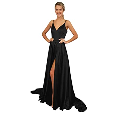 53379a12046 ElenaDressy Simple Double Spaghetti Straps High Split Prom Dresses Evening  Gowns