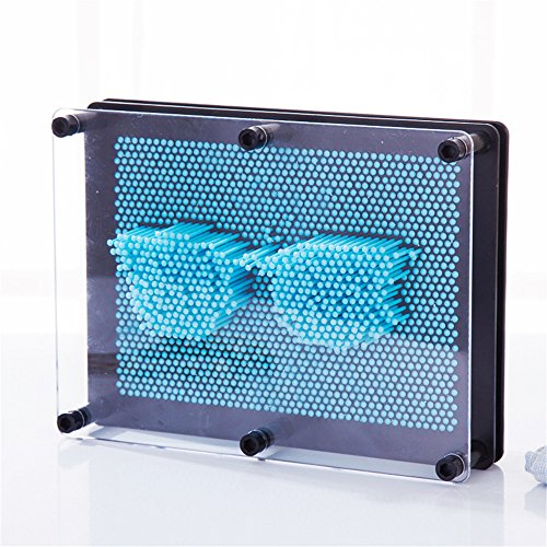 - Classic 3D Art Sculpture 3D Antistress Clone Fingerprint Needle Painting Gag Pin Art Pinart Impression Board Desktop Office Toy 3D Large Size Pin Art Board Kids Children Gift (Sky Blue)
