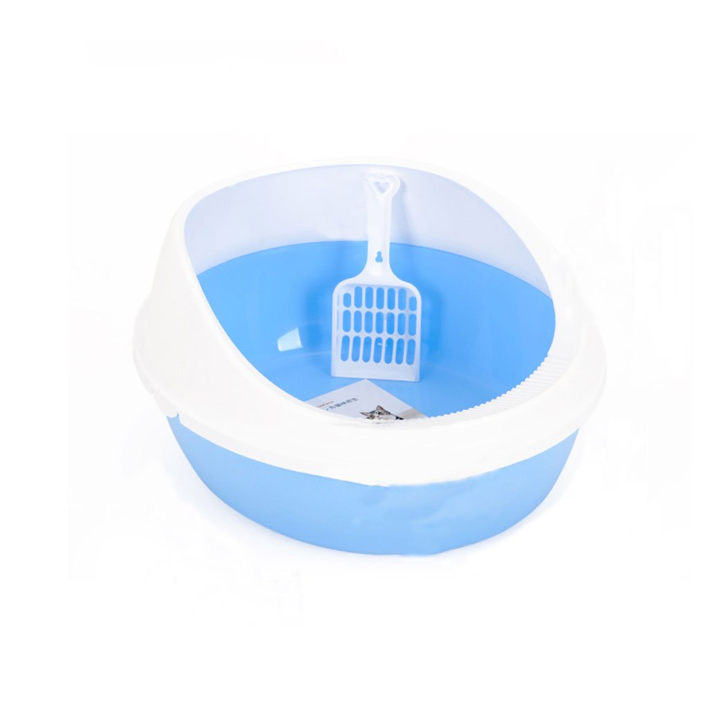 blueE M blueE M CS The Cat Litter Box Toilet Shit Cat Cat Sand Basin To Prevent Splashing Sand Potty Activities Open Style bluee Pink ( color   blueE , Size   M )