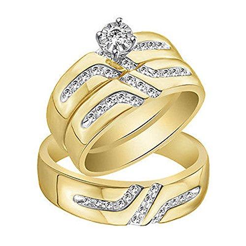 OMEGA JEWELLERY IGI Certified 1/4 Carat (ctw) Round Diamond Men & Women's Wedding Ring Trio Bridal Set in 14K Yellow Gold Over (0.25 Ct Diamond Trio)