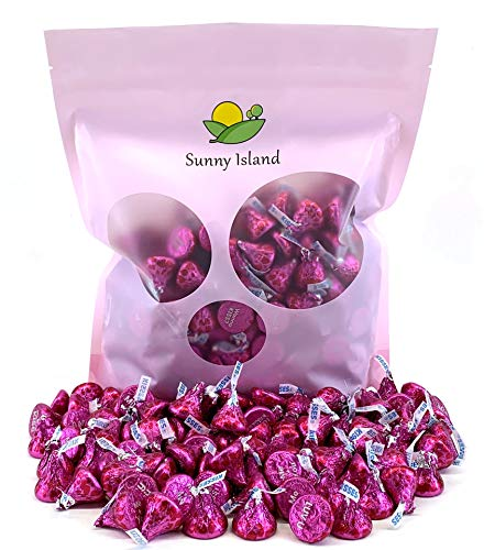Sunny Island Bulk - Hershey's Kisses Pink Conversation Milk Chocolate, Valentines Day Candy, 2 Pounds Bag