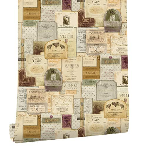 Vintage Newspaper - HaokHome 3903 Vintage Old Wine Lables Newspaper Wallpaper Murals Khaki/Brown Multi for Home Wall Kitchen Bathroom 20.8