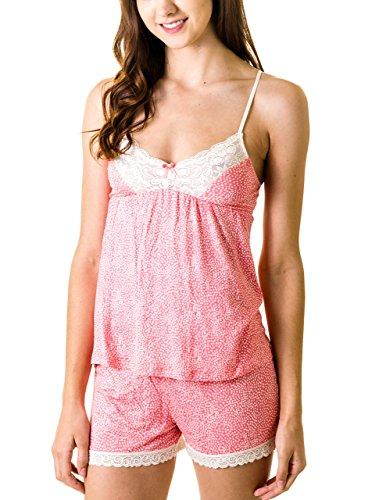 Rene Rofe Lace Paneled Cami and Shorts Pajama Set (Medium, Coral Dots)
