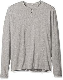 Threads 4 Thought Men\'s Sustainable Organic Cotton Long Sleeve Henley, Marled Grey, Medium