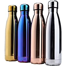 Insulated Stainless Steel Water Vacuum Bottle Flask Double-walled for Outdoor Sports Hiking Running Electroplating color