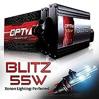OPT7 BLTZ 55W H3 HID Kit - 3X Brighter - 4X Longer Life - All Bulb Sizes and Colors - 2 Yr Warranty [6000K Lightning Blue Xenon Light]