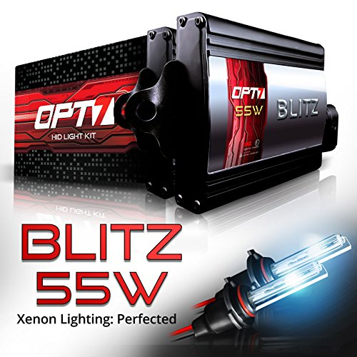 OPT7 Blitz 55W H11 H8 H9 HID Kit - 5X Brighter - 4X Longer Life - All Bulb Colors and Sizes - 2 Yr Warranty [8000K Ice Blue Xenon Light] (55w Xenon Blue Bulbs)