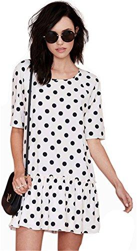 Sexy Polka Dot Ruffled Hem Trim Mini A Line Shift Dress White (Ruffled Shift)