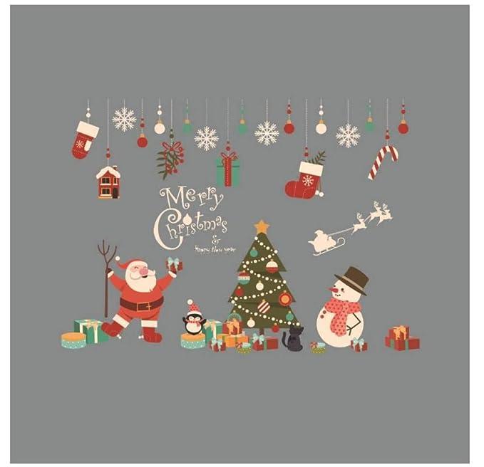 JSWBNMU Vinilo Decorativo Ventana Navidad,Santa Don Calcetines ...