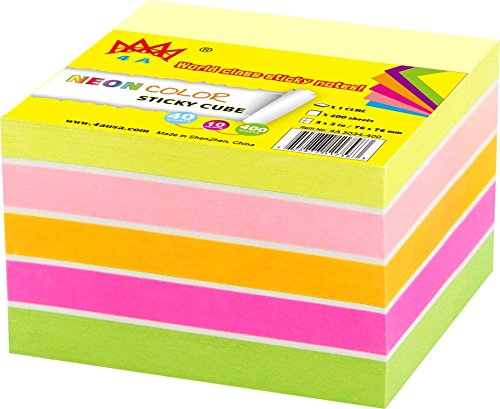 4A Sticky Notes Cube In Ultra Colors,3 x 3 Inches,Neon Assorted,Self-Stick Notes,400 Sheets/Pad,1 Pad/Pack,4A -