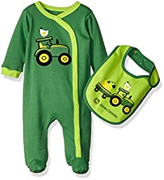 John Deere Boys\' Tractors Coverall Set with Bib, Green, 3-6 Months
