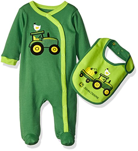 John Deere Boys' Tractors Coverall Set with Bib, Green, 3-6 Months
