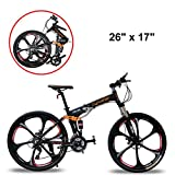 Extrbici Mountain Bike Folding Bicycle,FR100 Bicycle Full Suspension 24 Speeds Shimano M310 Gears Aluminum Frame 17x26 Inch Wheel Mechanical Disc Brakes