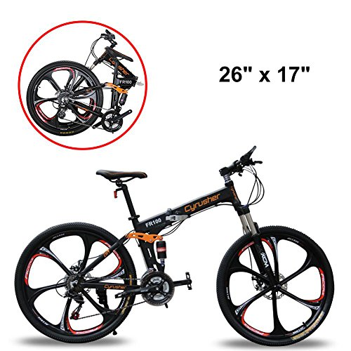 - Extrbici Mountain Bike Folding Bicycle,FR100 Bicycle Full Suspension 24 Speeds Shimano M310 Gears Aluminum Frame 17x26 Inch Wheel Mechanical Disc Brakes