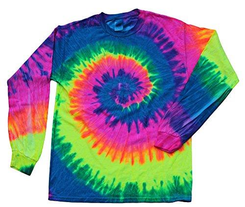 Colortone-Gildan Tie Dye Long Sleeve T-Shirts Multicolor Youth Kids Sizes (Bright Rainbow, 10-12)