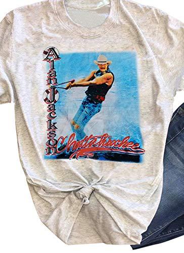 Alan Jackson Chattahoochee T Shirt Tops for Women Vintage Graphic Tee Summer Short Sleeve Casual T Shirts Tunic (Small, Light Grey)