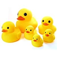 Novelty Place [Float & Squeak] Six Rubber Duck Family Pack Ducky Baby Bath Toy for Kids (Pack of 6)